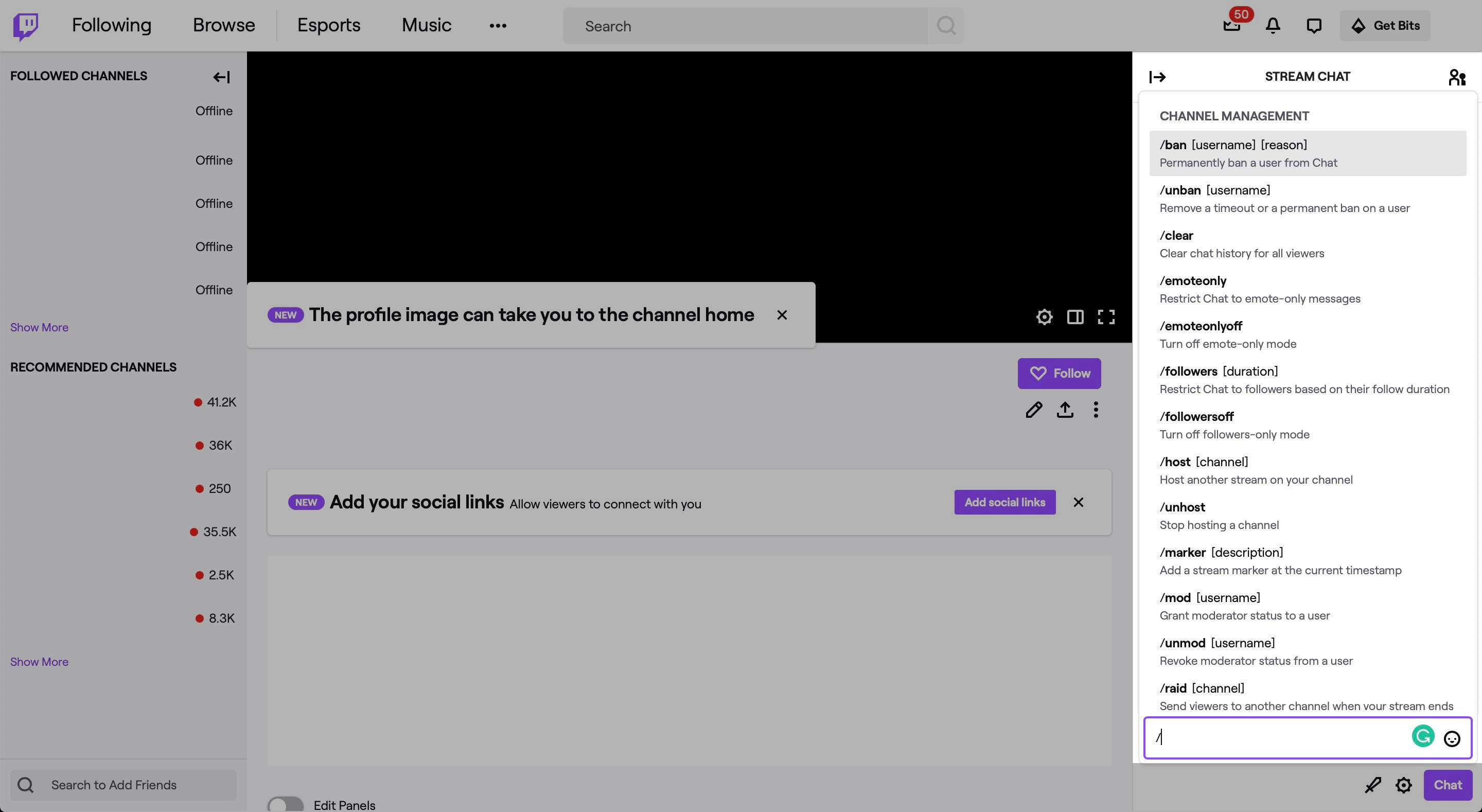 Text commands in Twitch