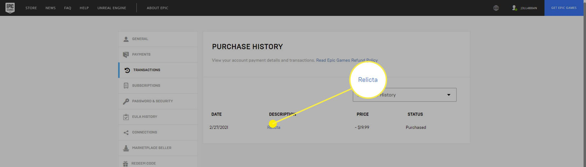 The Purchase History on the Epic Games Store.