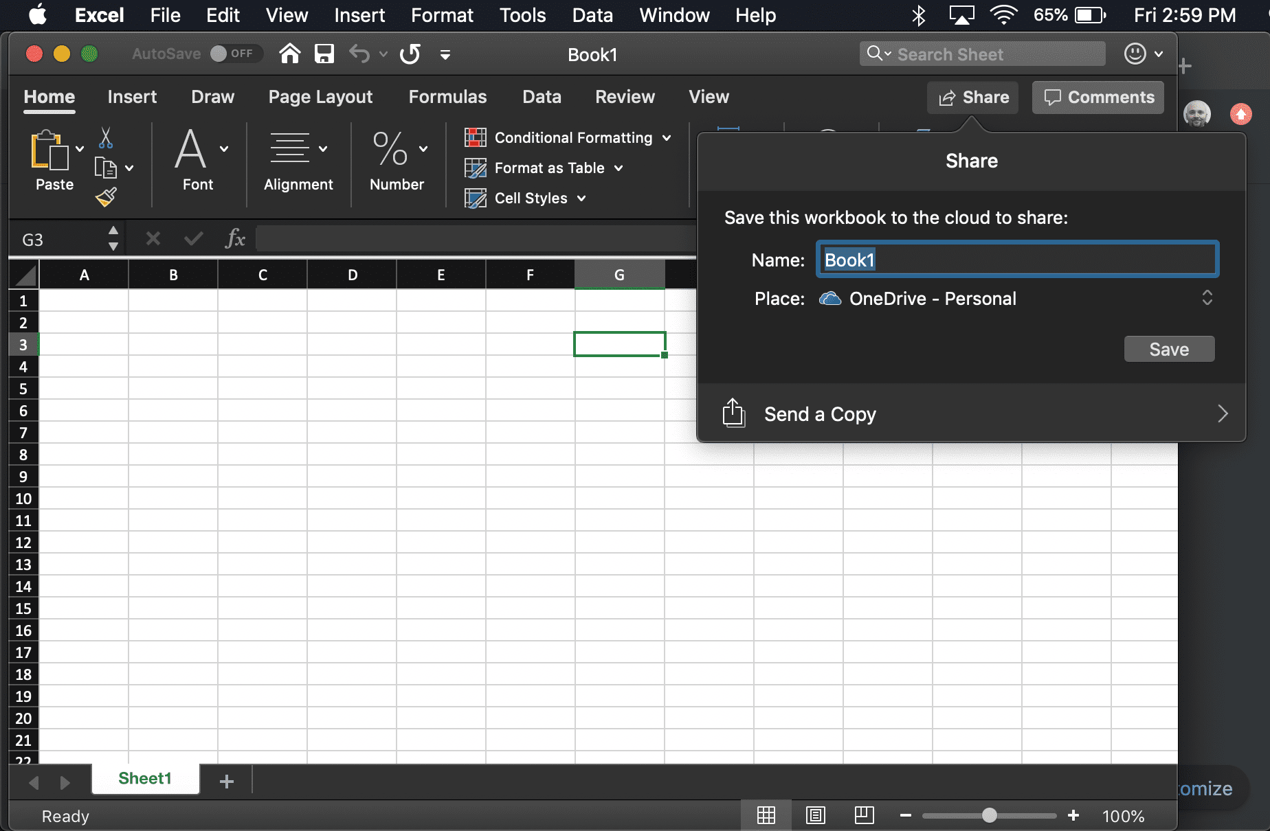 screenshot of the Excel Share window