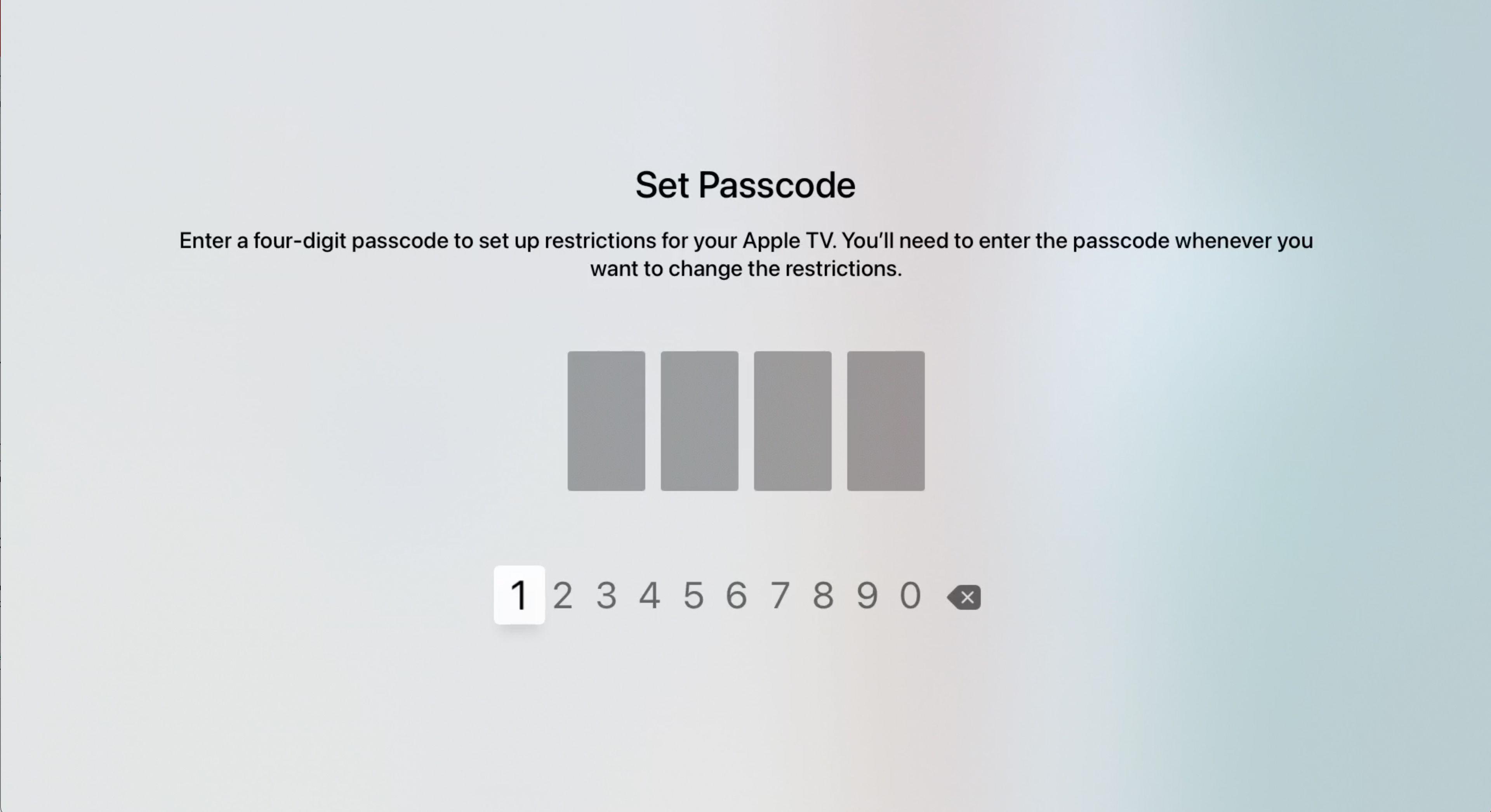 Set passcode screen in Apple TV settings
