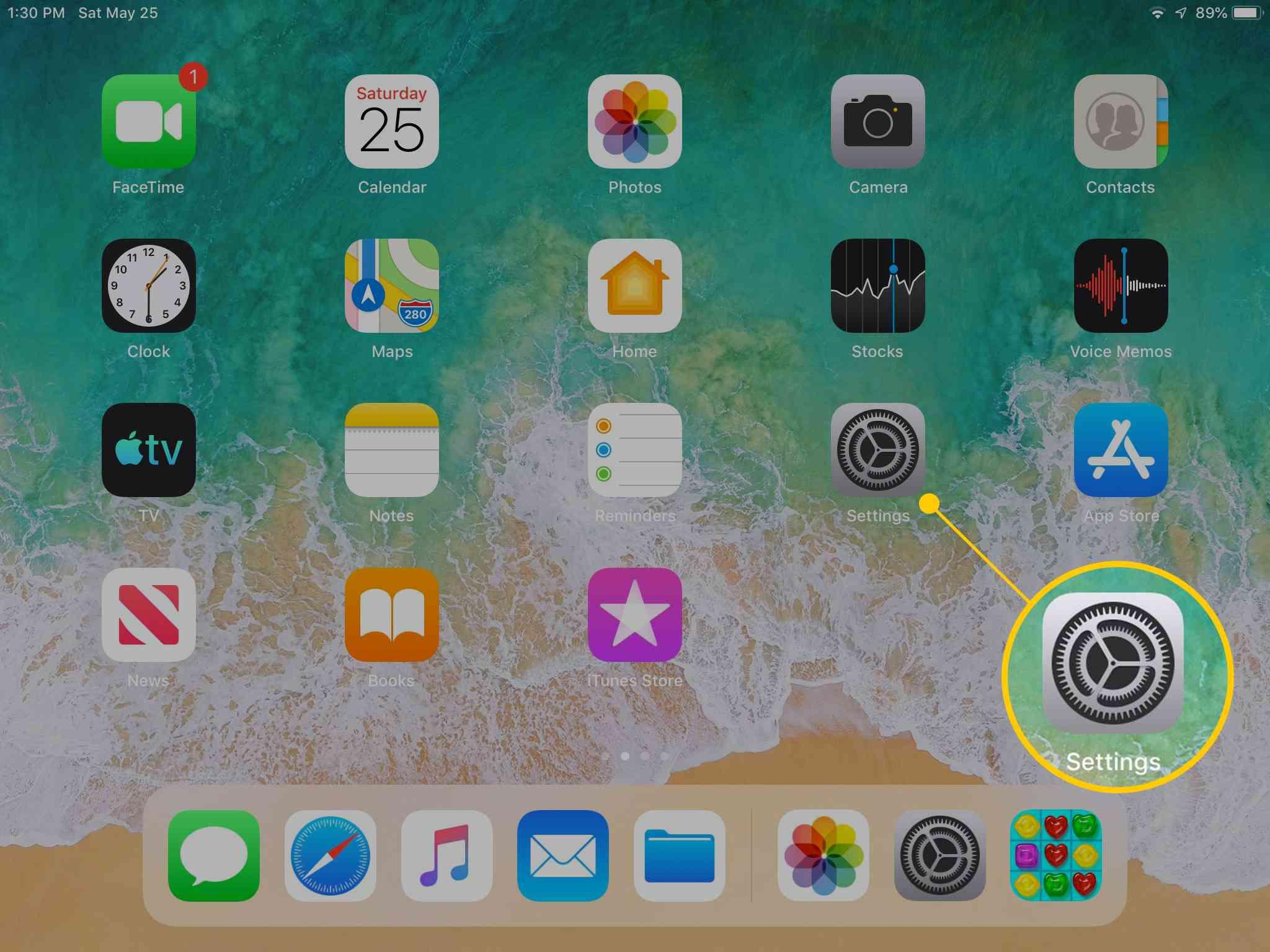 Settings icon on iPad