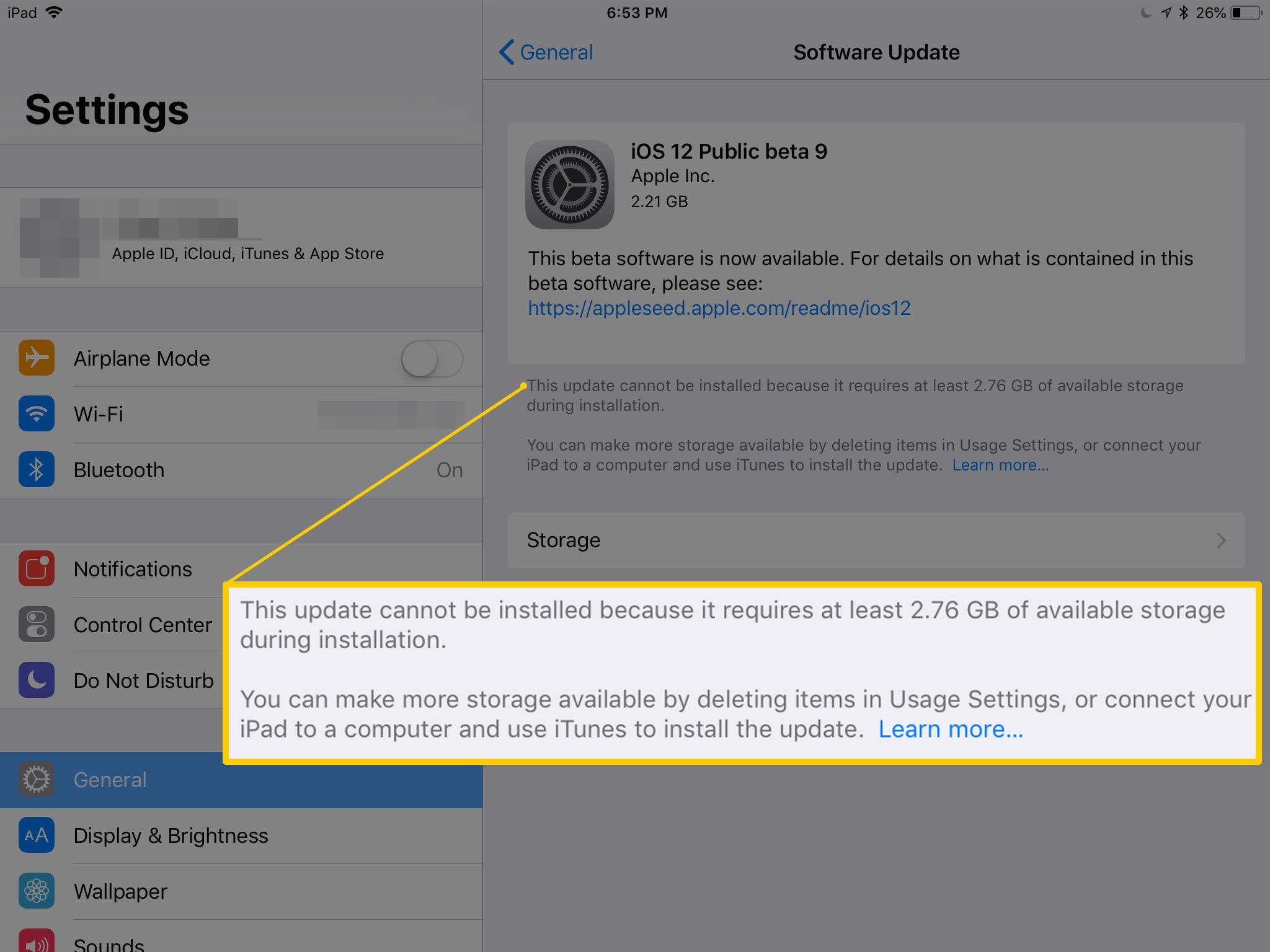 ipad 2 not updating to ios 6