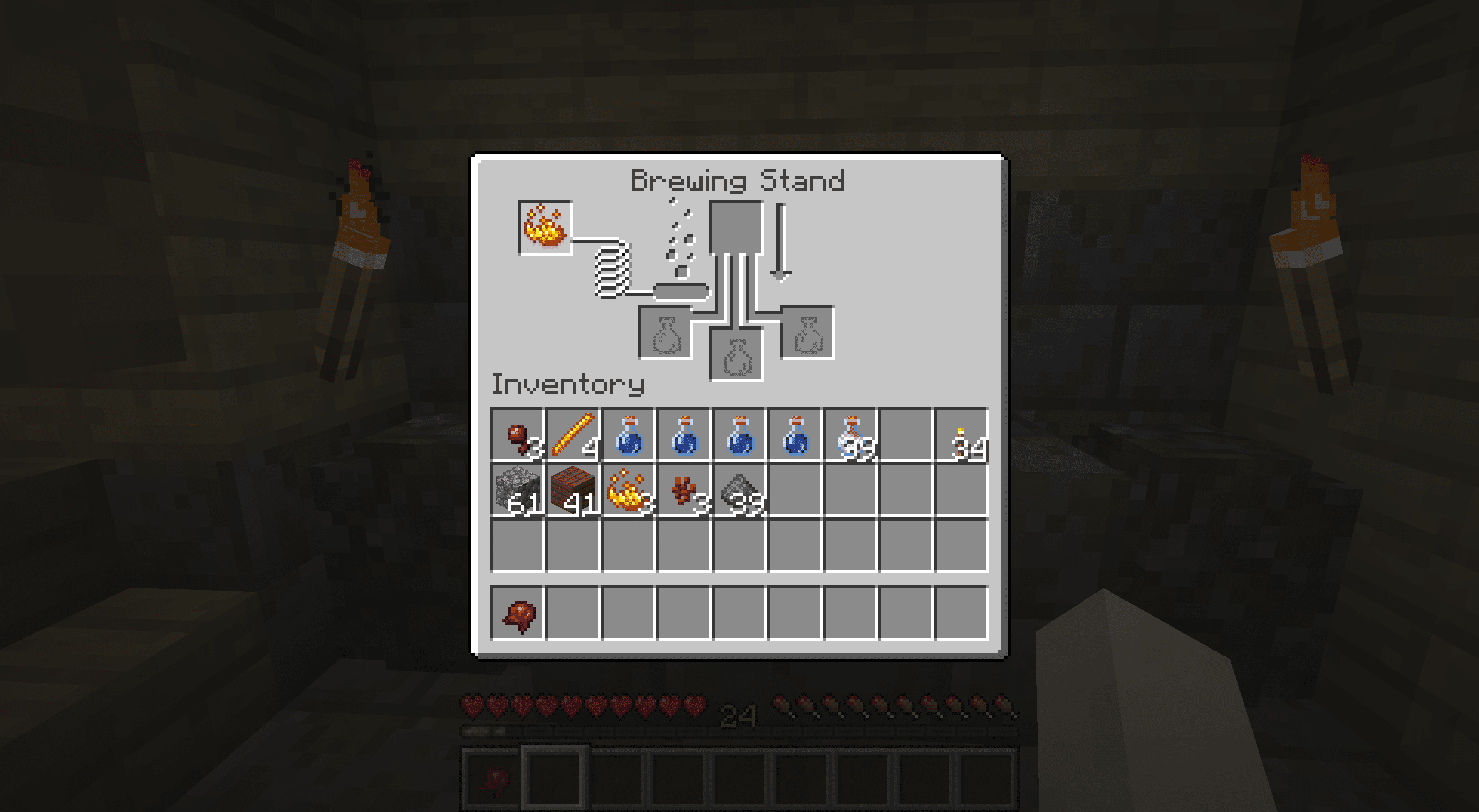Placing blaze powder in a brewing stand.