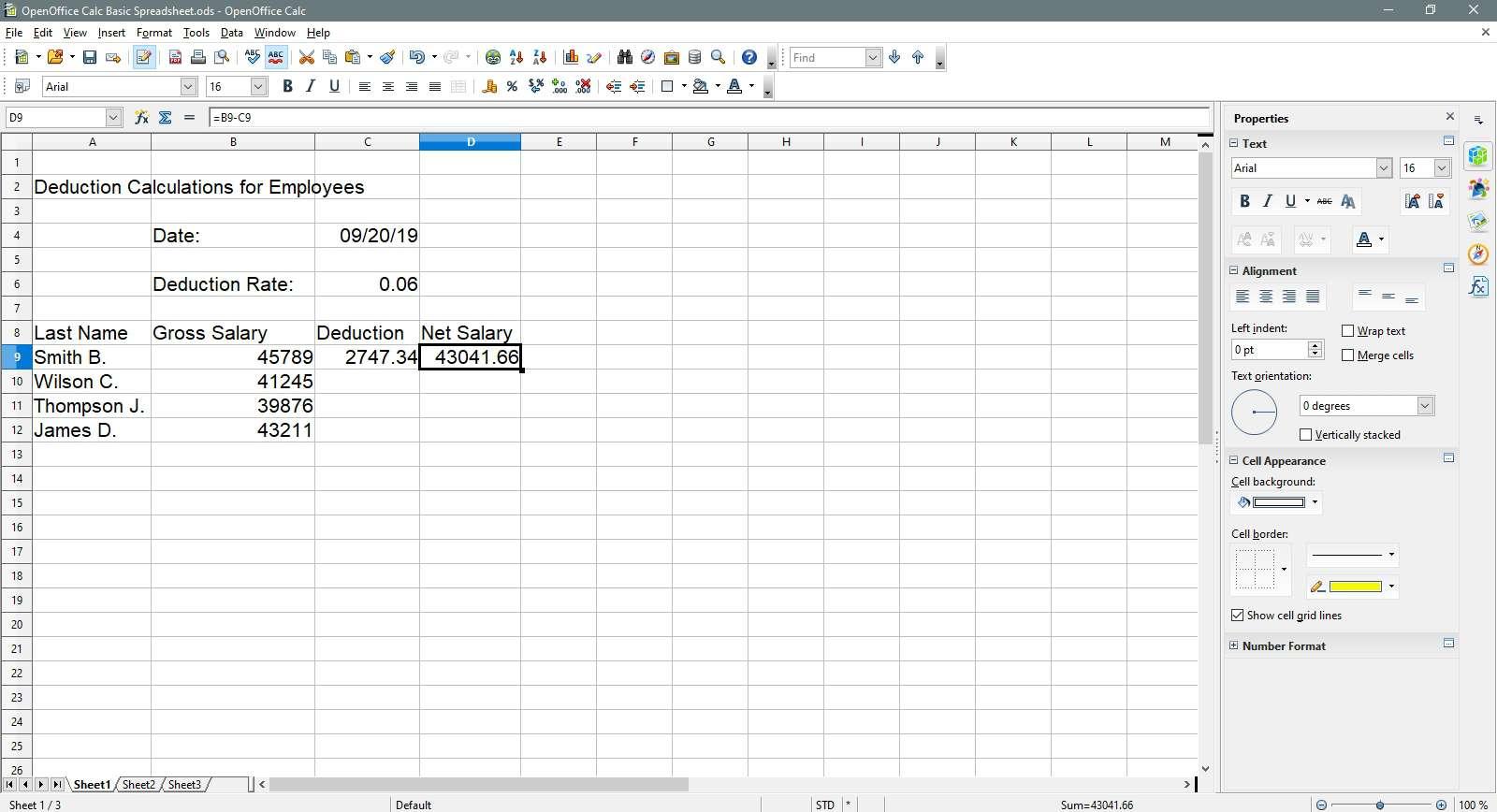 net salary has been computed in OpenOffice Calc.