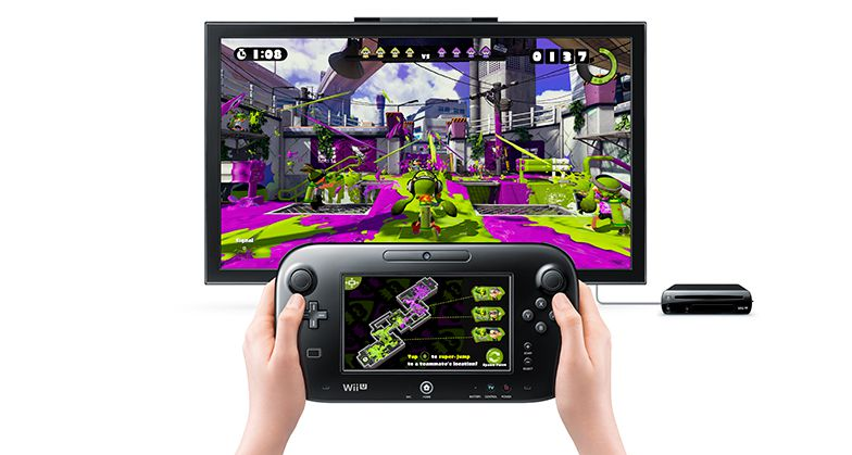 A colorful scene from Nintendo's Wii U game Splatoon with controller in hands