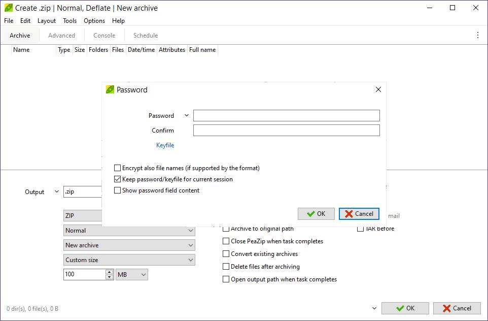 PeaZip password protection screen
