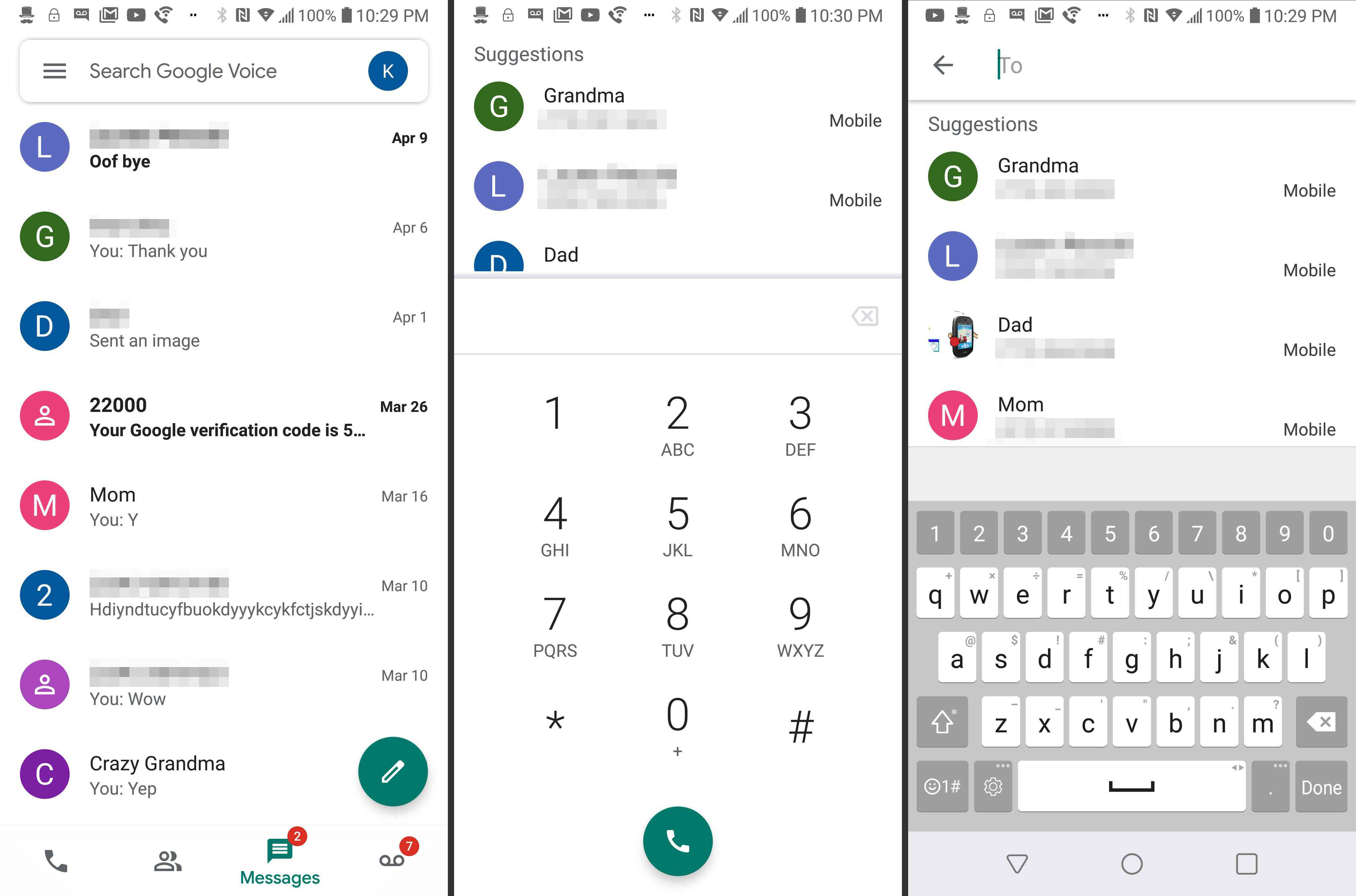 Google Voice app on Android
