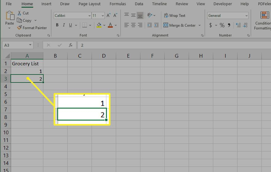 Starting a numbered list in Excel