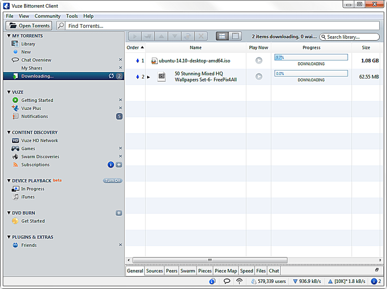 Screenshot of the Vuze torrent client in Windows 7