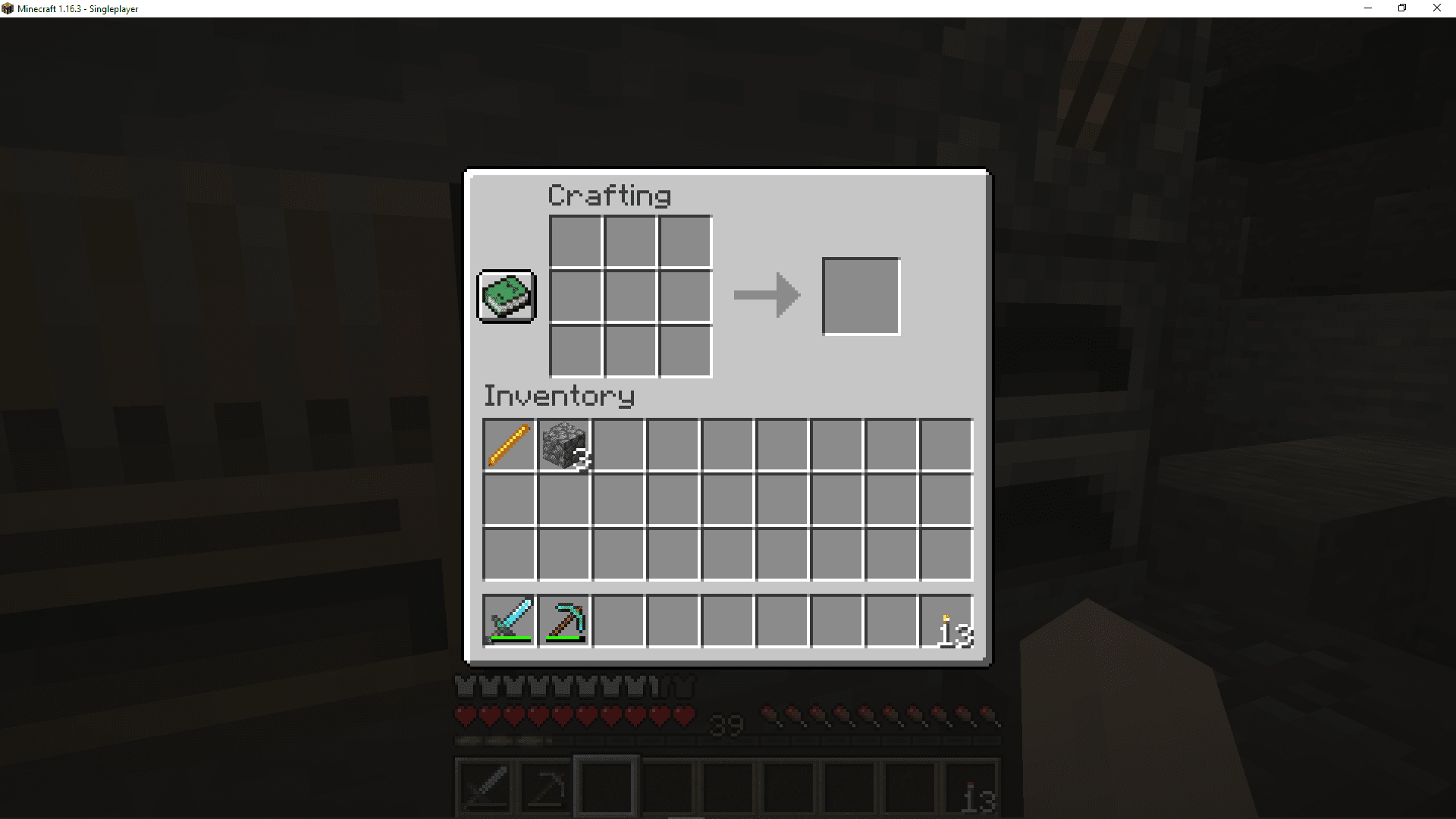 The crafting interface in Minecraft.