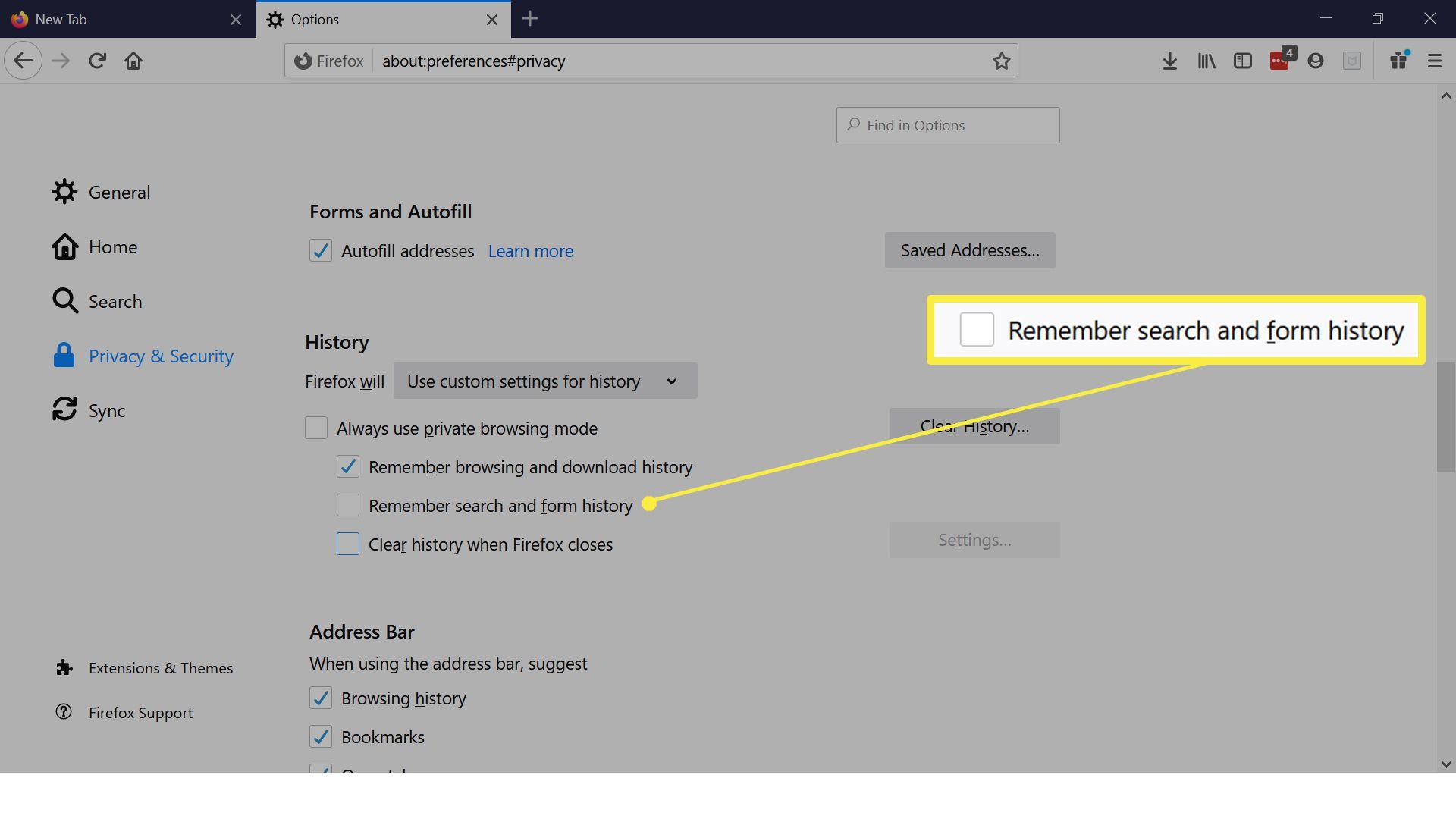 Firefox history settings.