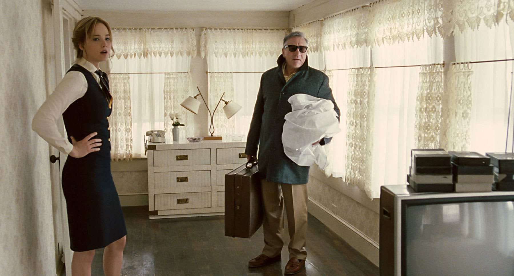 Jennifer Lawrence and Robert De Niro in the movie Joy