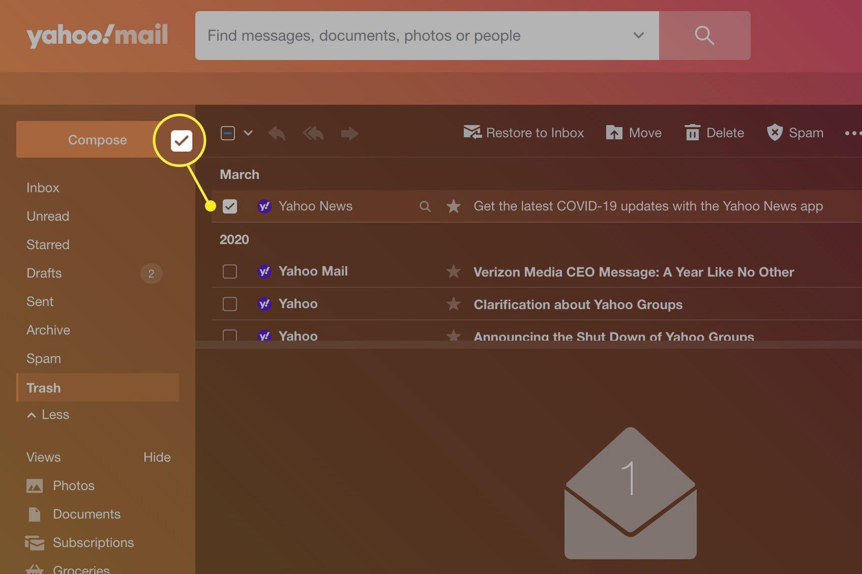 Yahoo Mail checked box