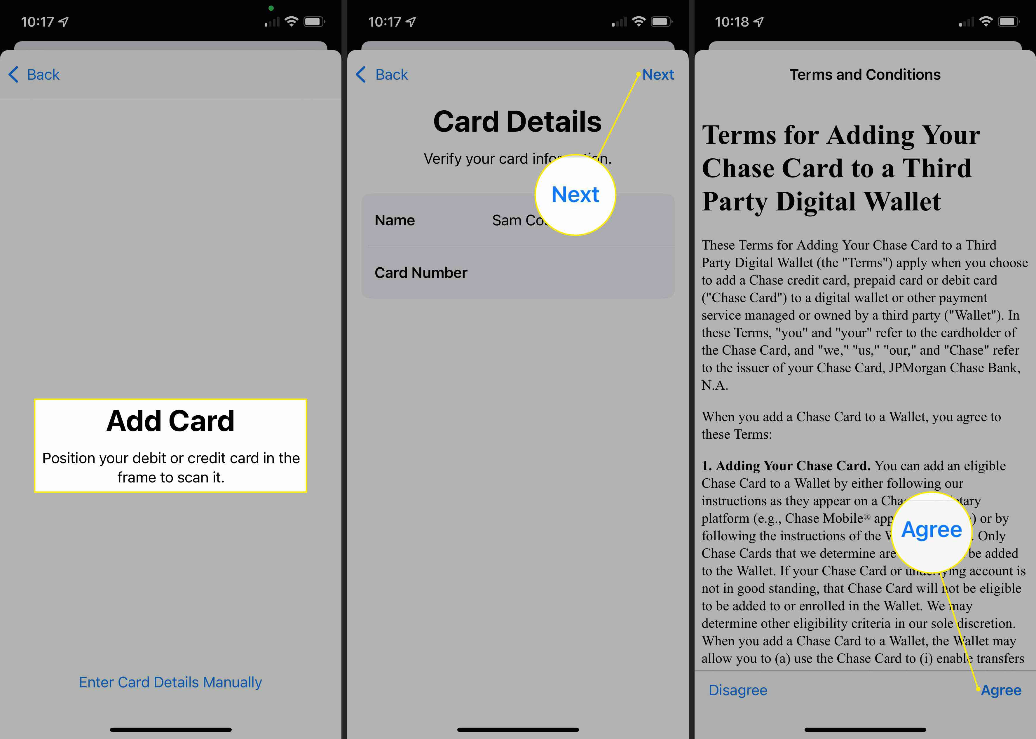 Add Card, Next, and Agree highlighted in Apple Pay on iOS