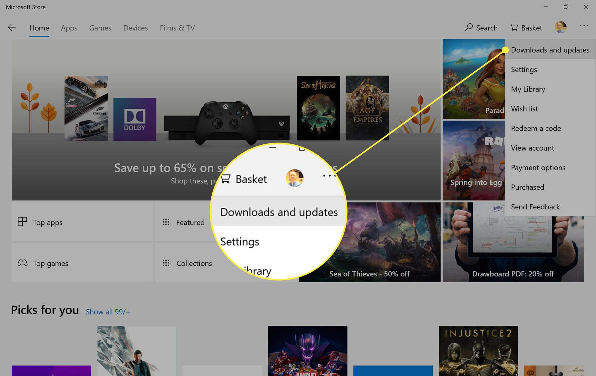 The Downloads and Updates section of Microsoft Store settings