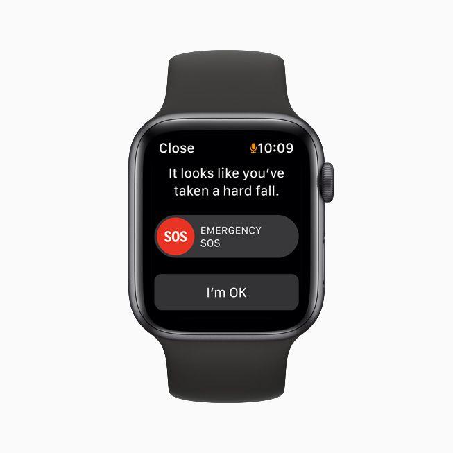 Apple Watch 6 showing a fall alert.