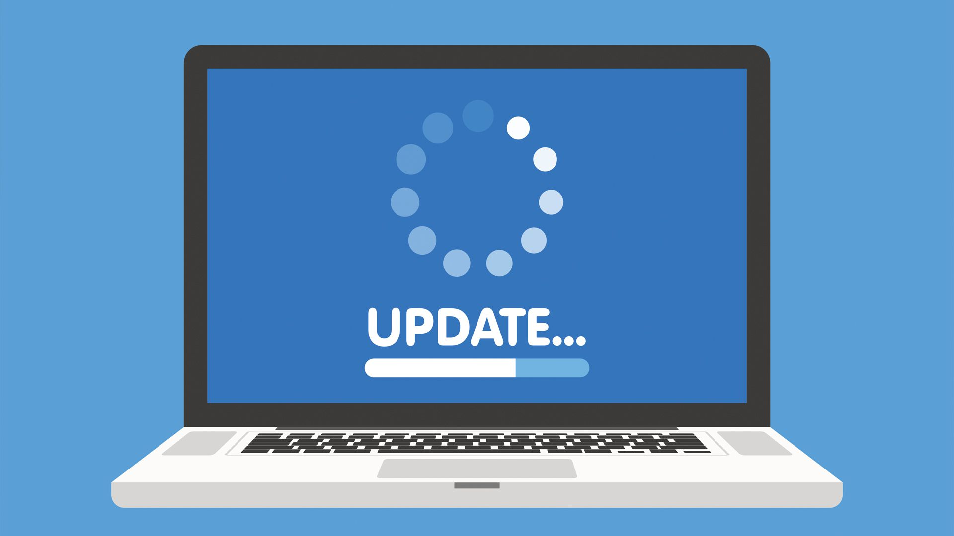 A Windows laptop installing an update.