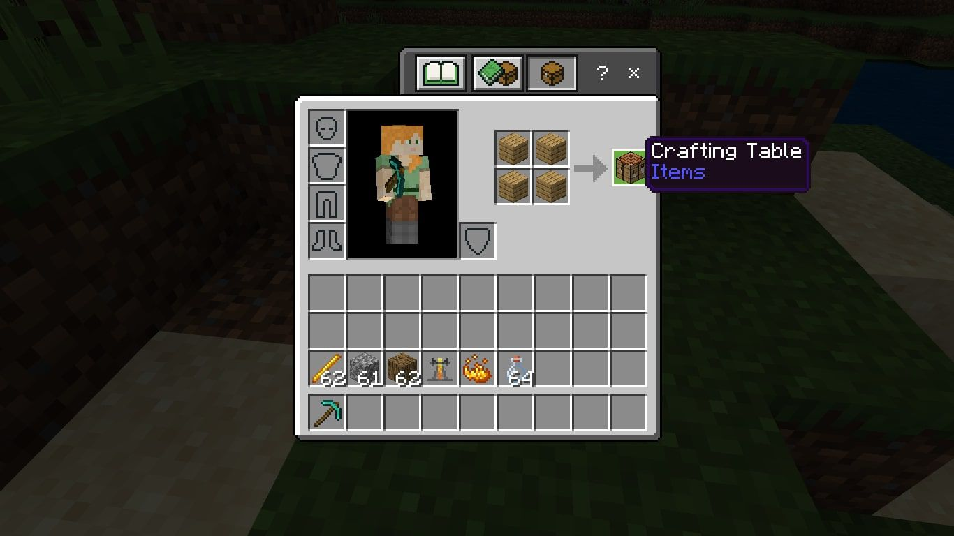 Make a Crafting Table with 4 Wood Planks