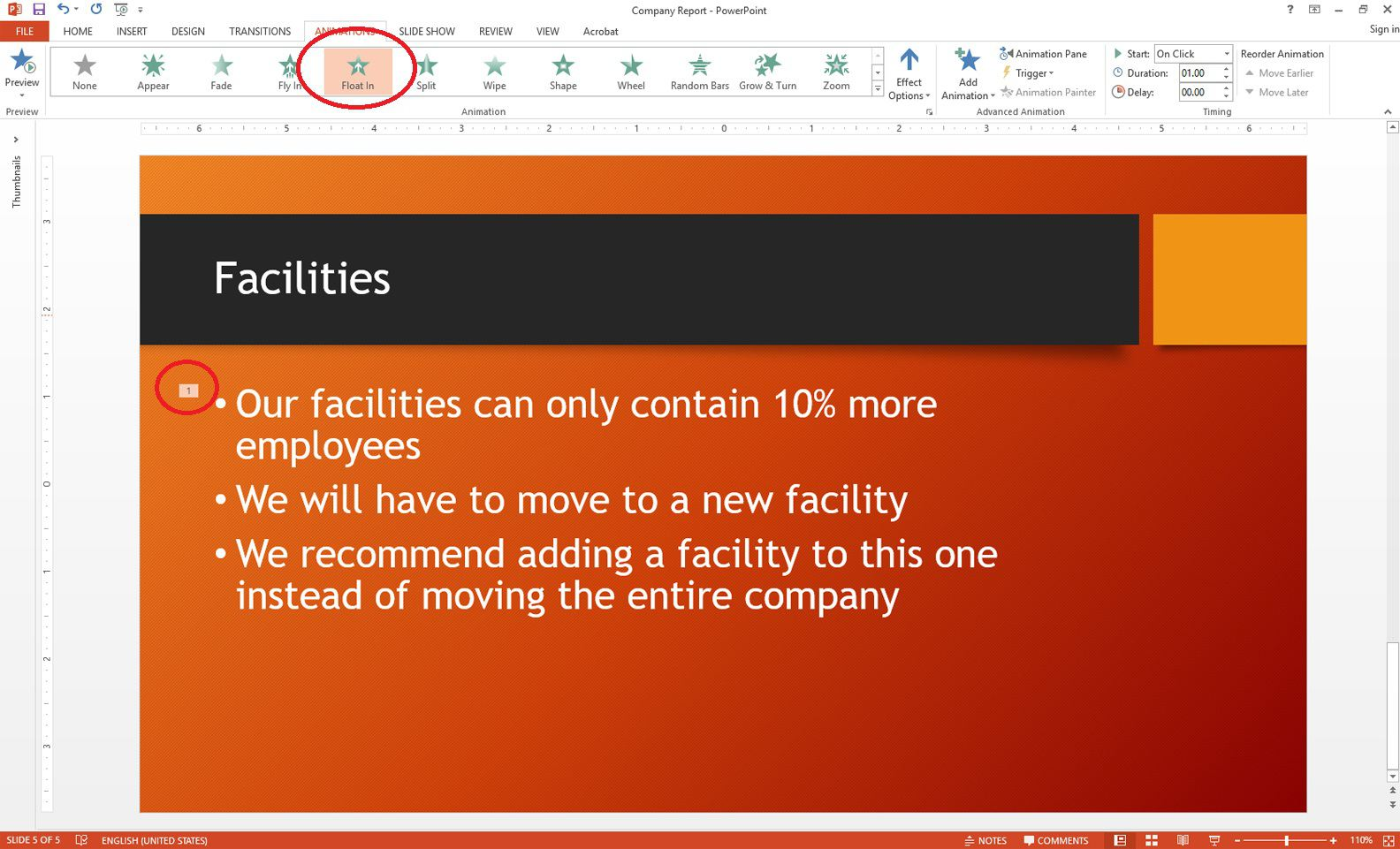 powerpoint choose animation effect