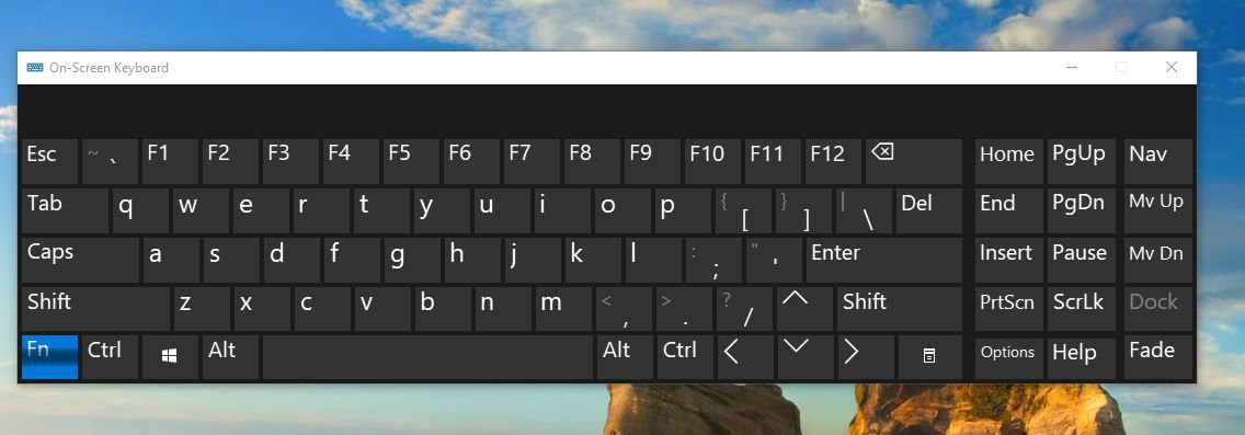 windows 10 on screen keyboard break key