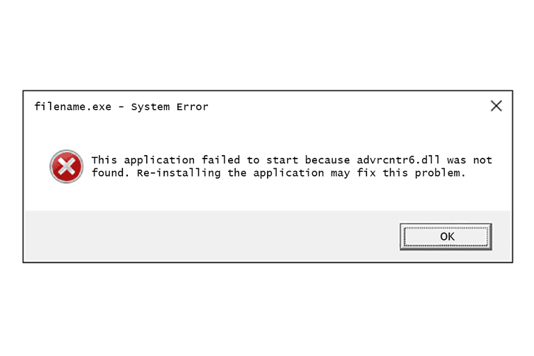 Screenshot of an Advrcntr6 DLL error message in Windows