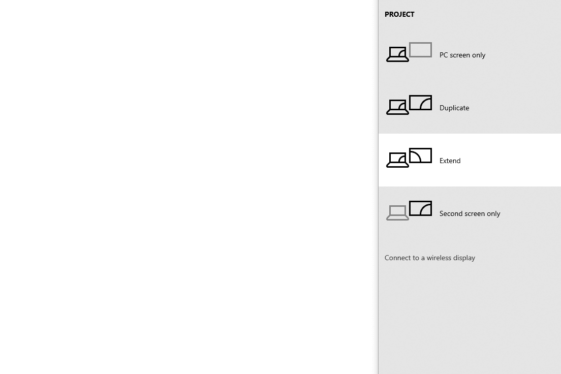 extend screen projection option in Windows 10