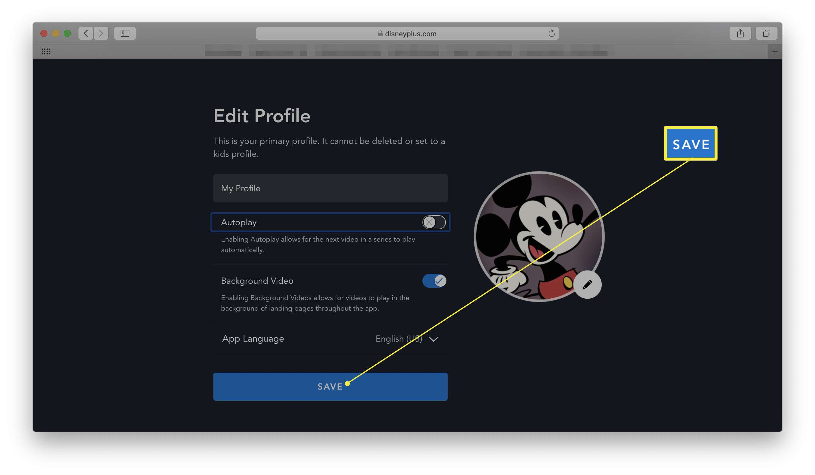 Disney+ with Edit Profile open and Save dialog highlighted