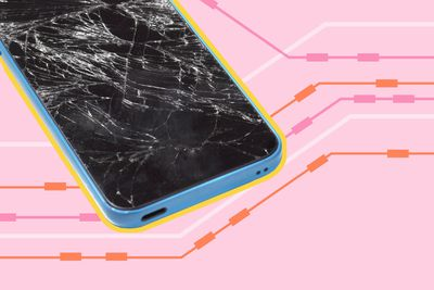 cellphone with cracked screen