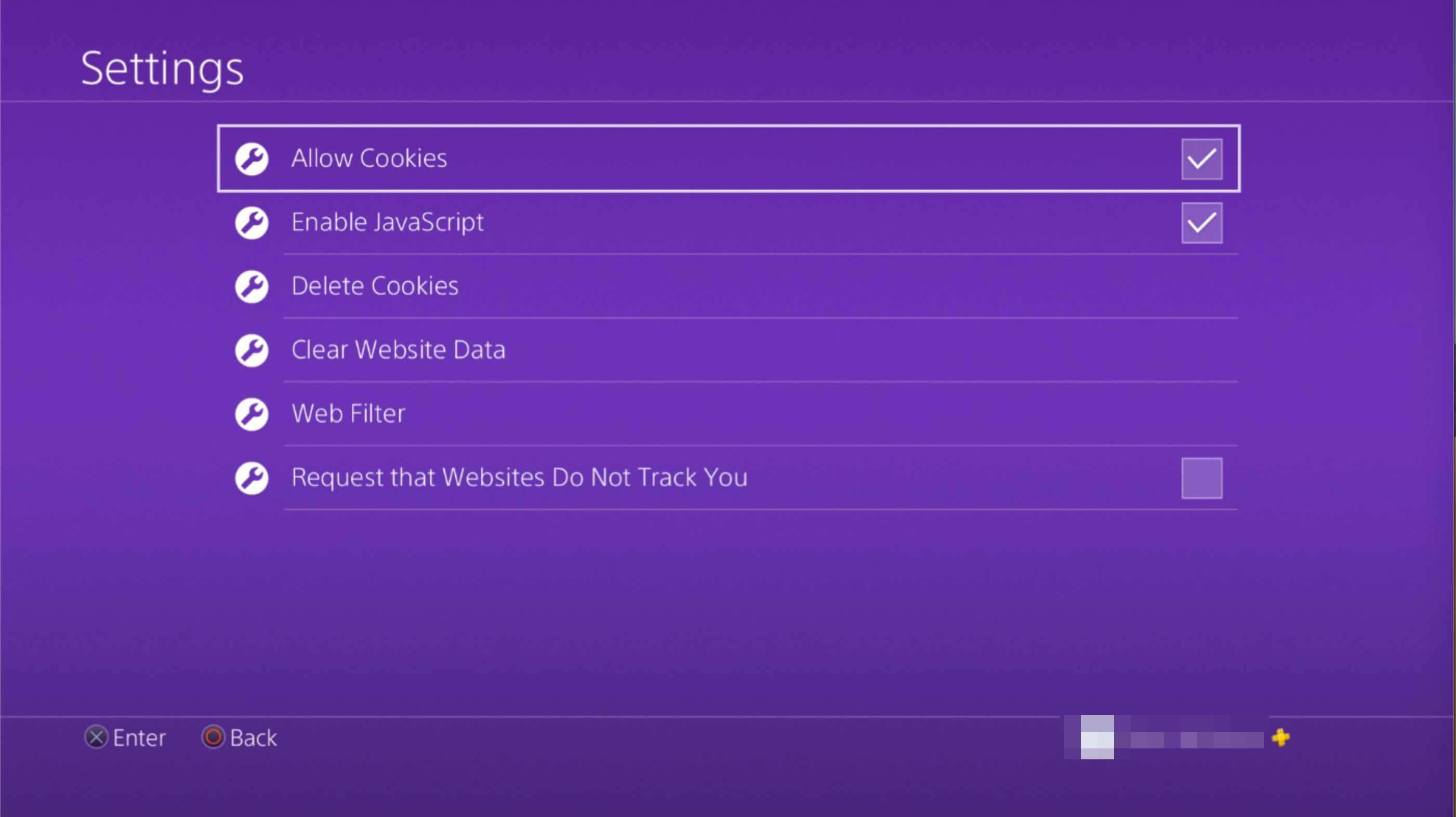 Allow Cookies option on PS4 browser settings