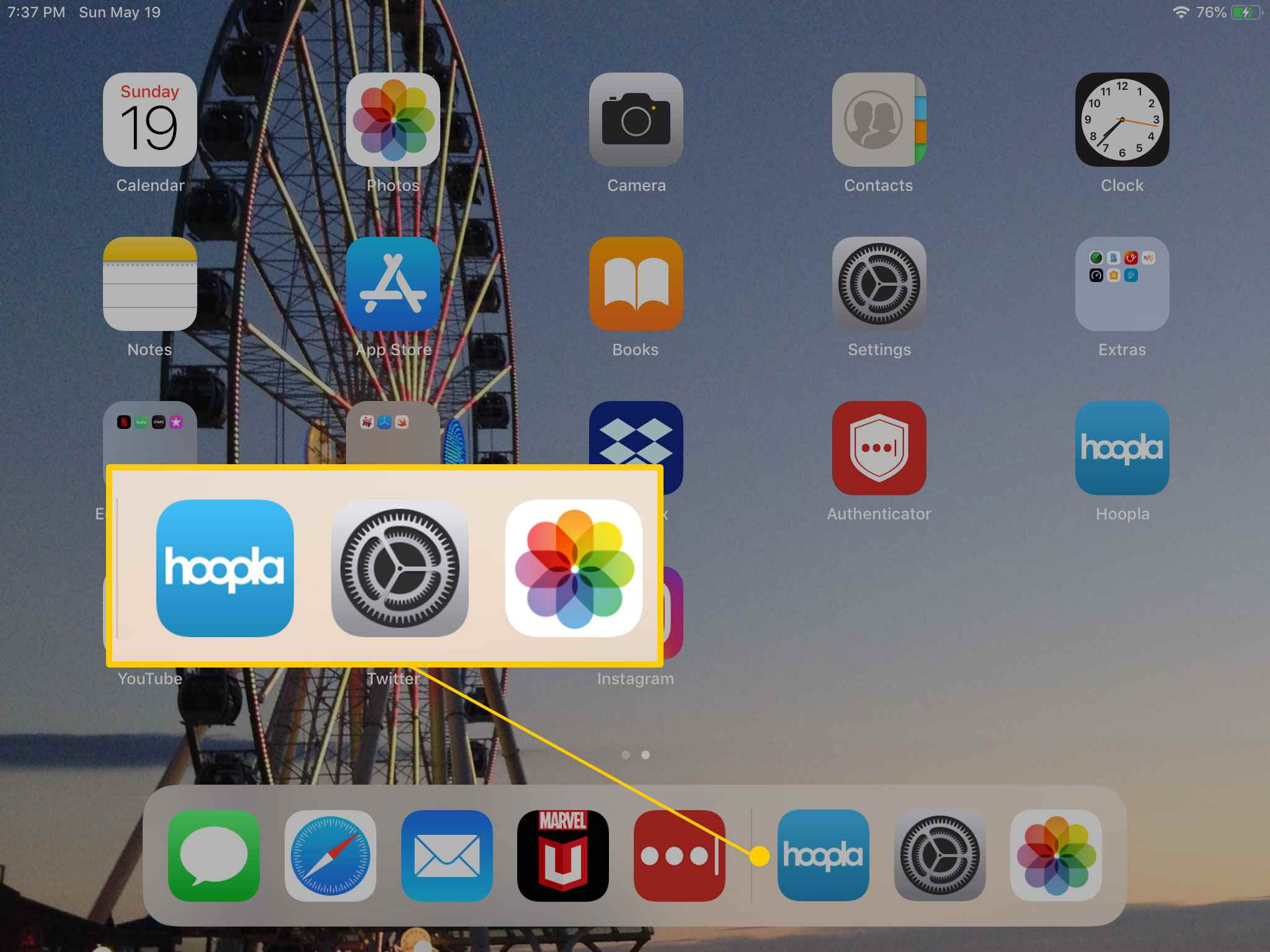 Recently opened apps in iPad dock