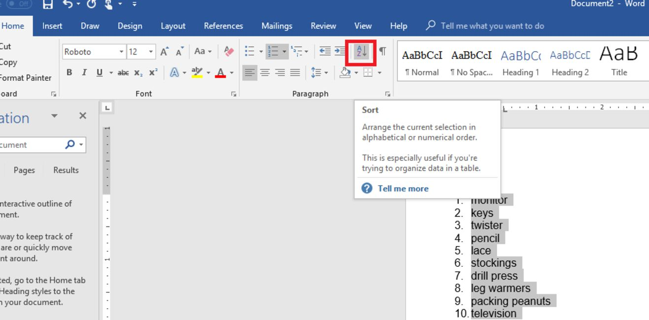 How to Sort Alphabetically in Word