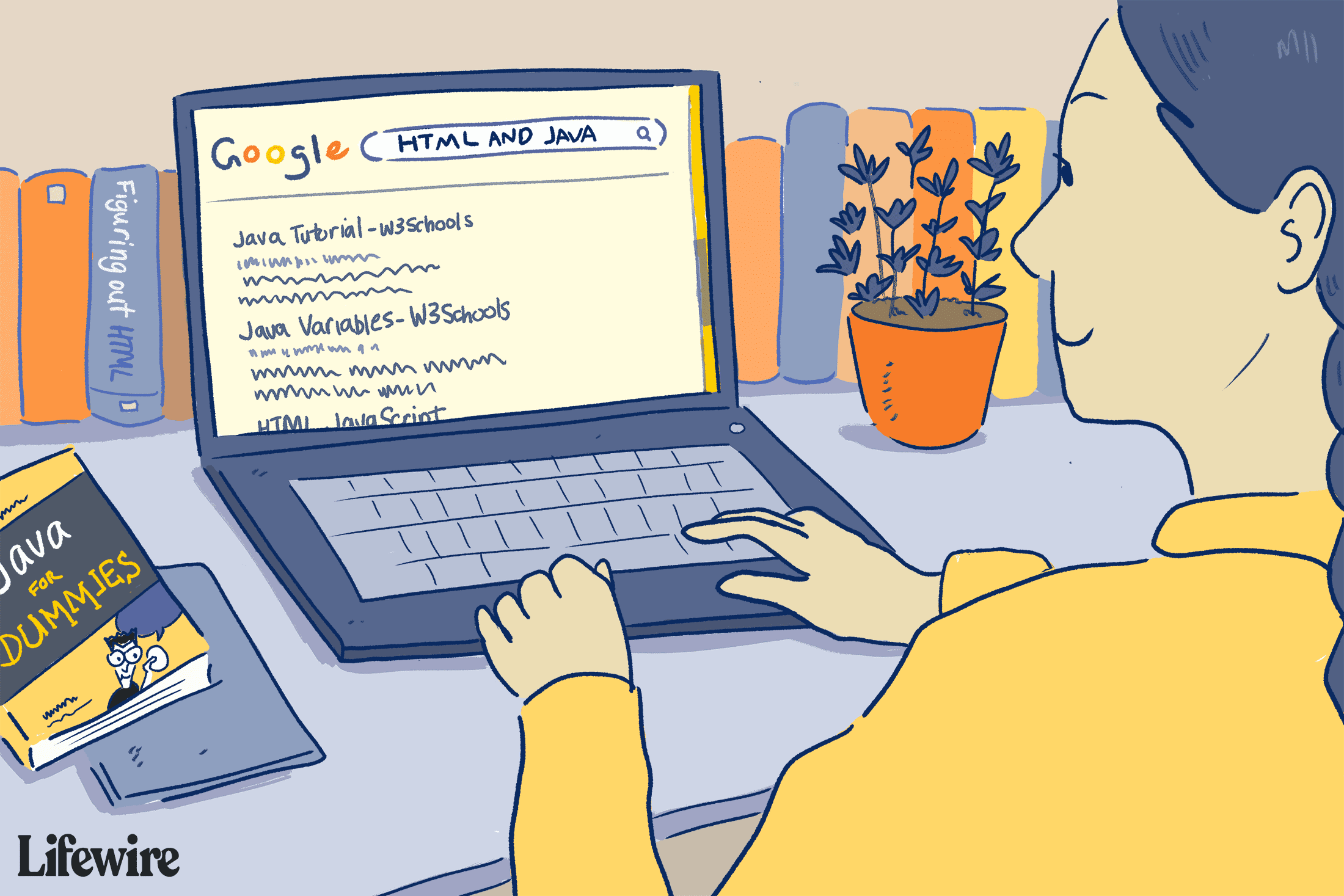 Illustration of a person doing a Boolean search for HTML and Java