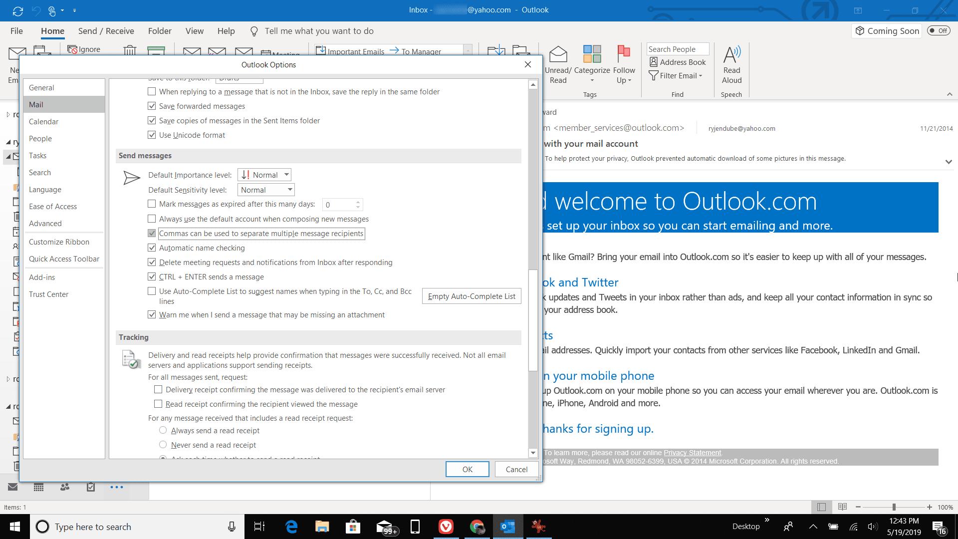 Screenshot of enabling commas for recipients in Outlook
