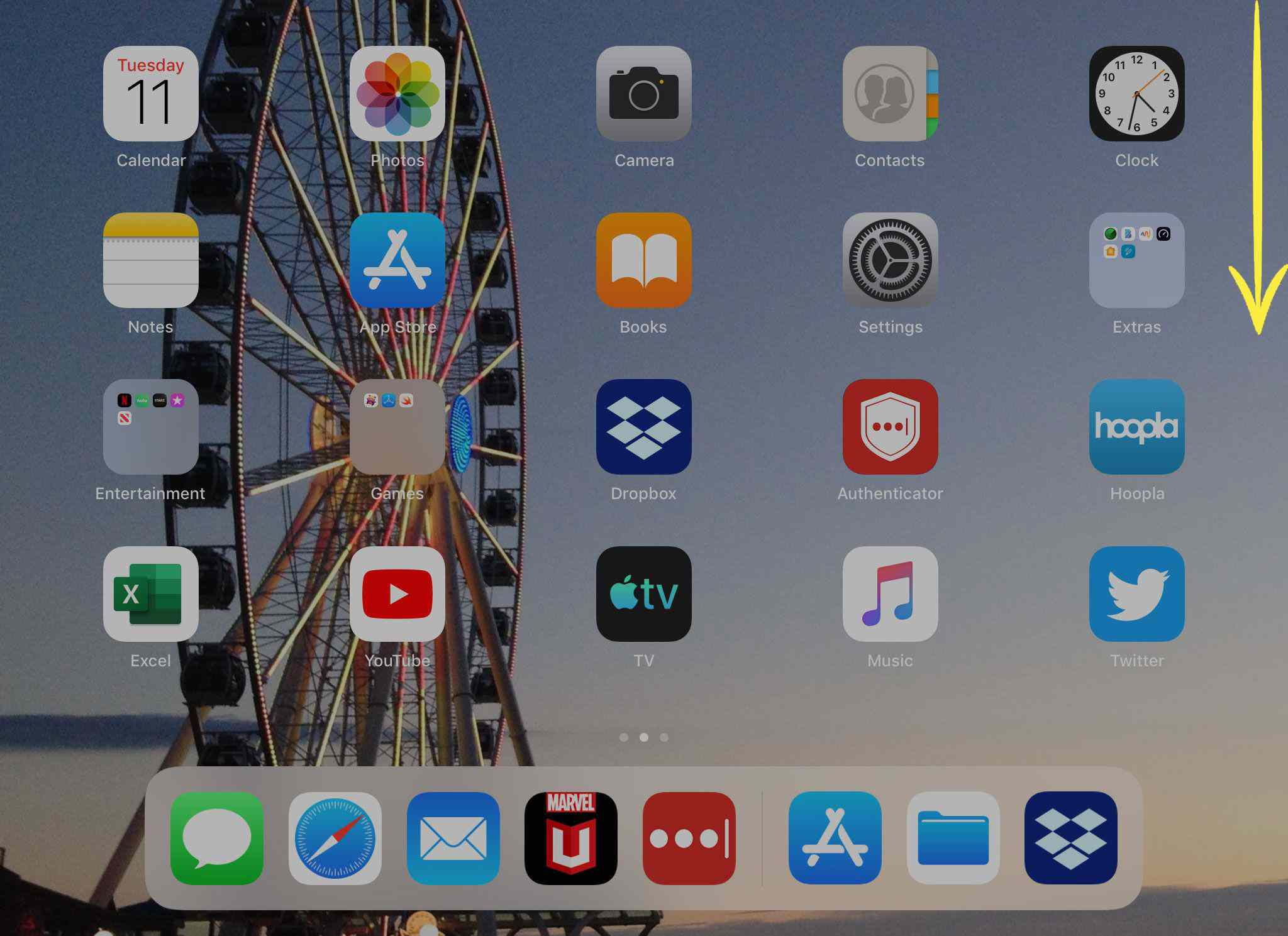 Swipe down from the upper-right corner of the screen to open Notification Center on an iPad