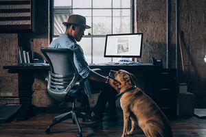 Man petting his dog at his desk while working on images in a Google Document.