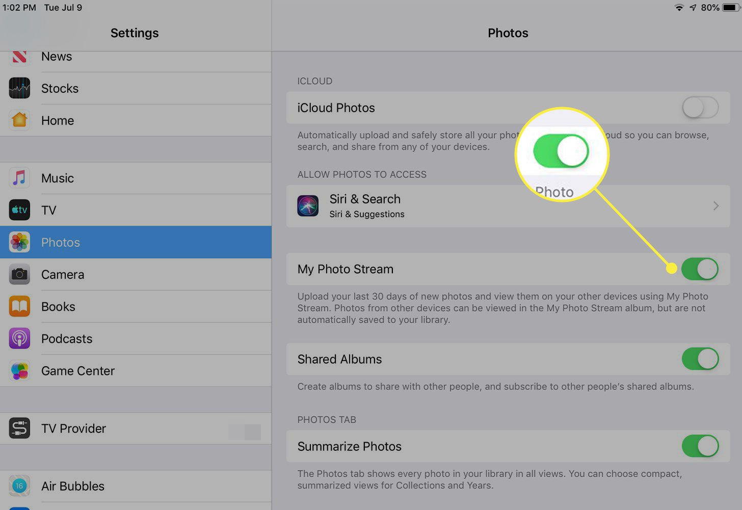 A screenshot of iPad Photos settings with the switch next to My Photo Stream highlighted