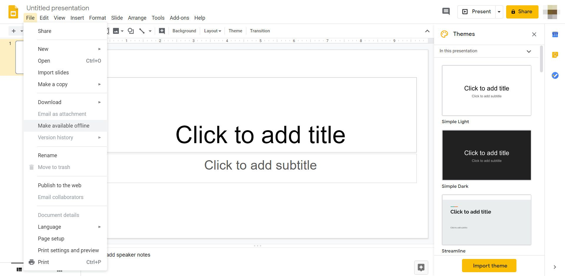 Although Google Slides is cloud-based, you can work on a project offline