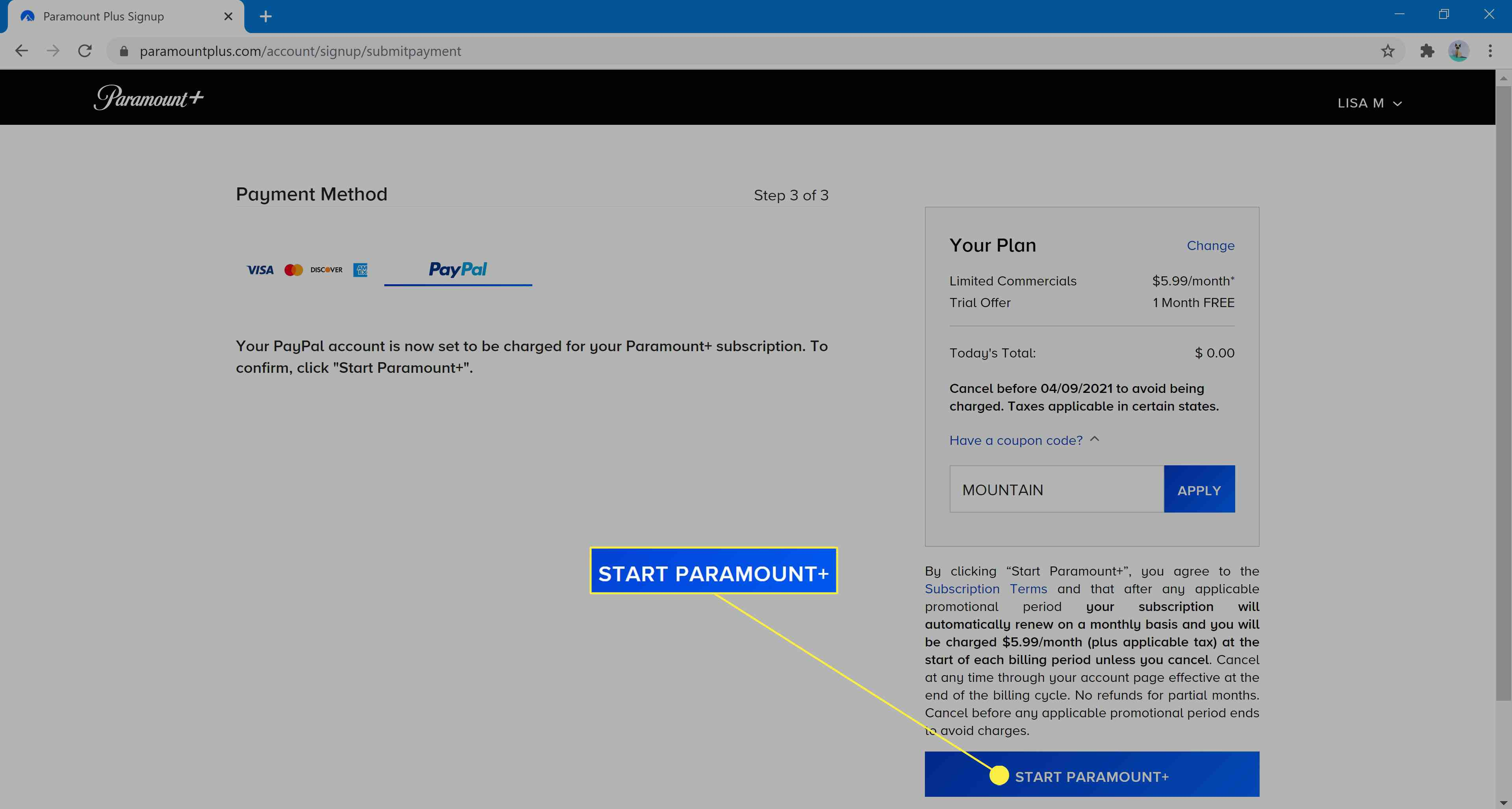 Finishing payment and activating Paramount+ account.