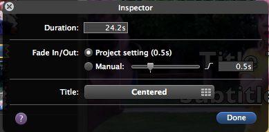 iMovie title duration screenshot