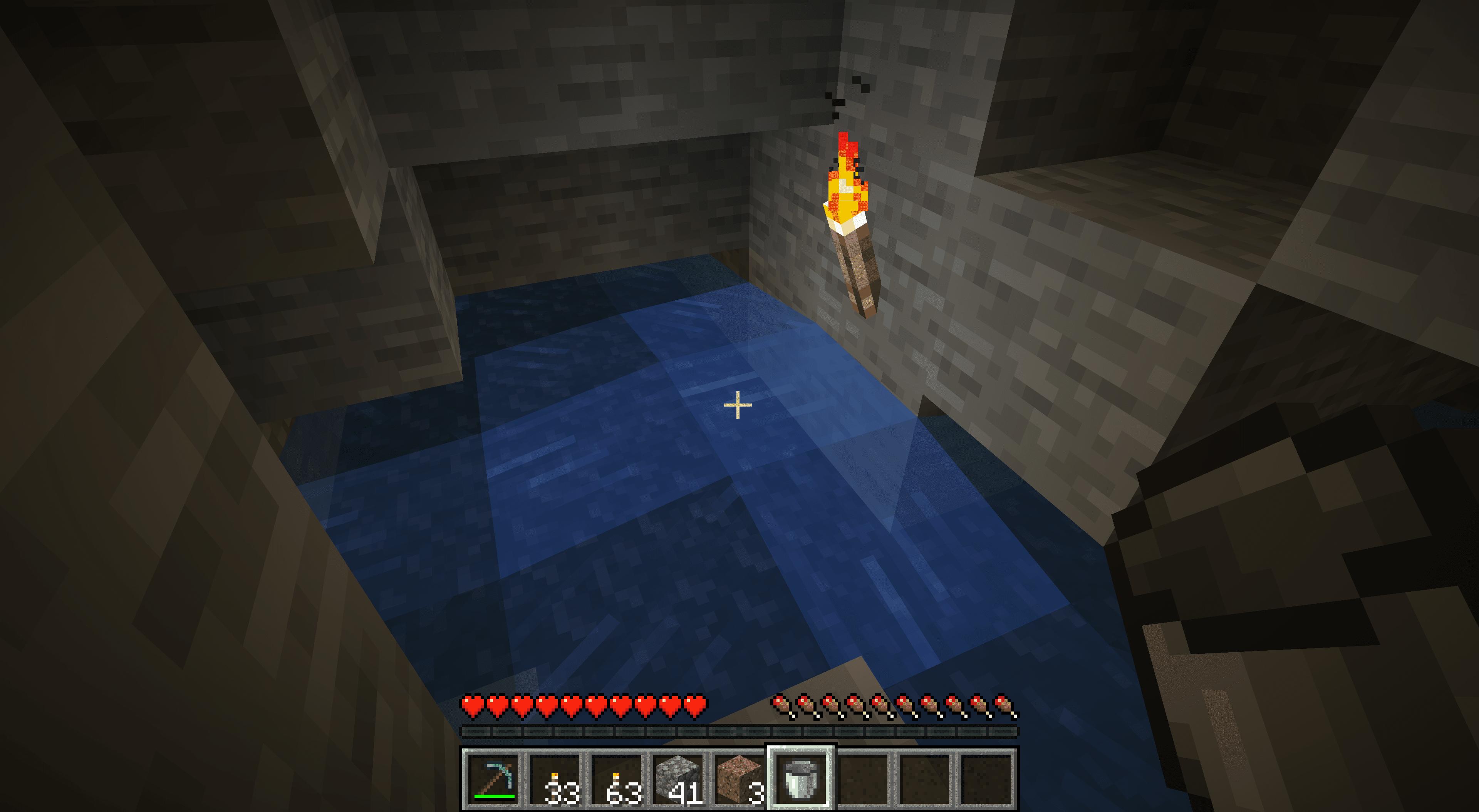 Water on obsidian in minecraft.