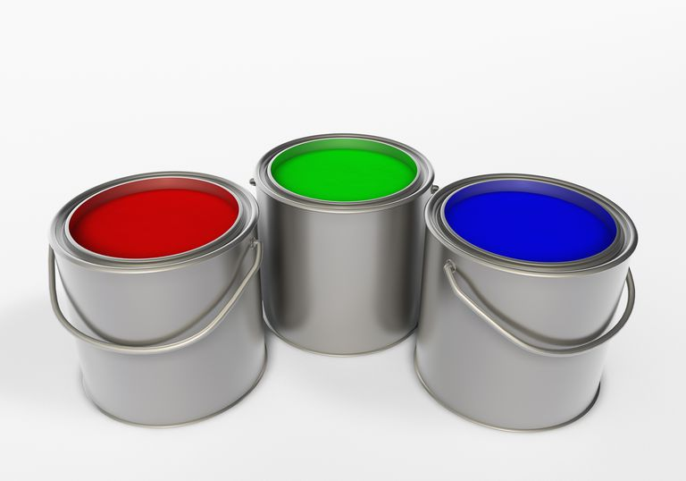 Red green blue RGB in paint buckets