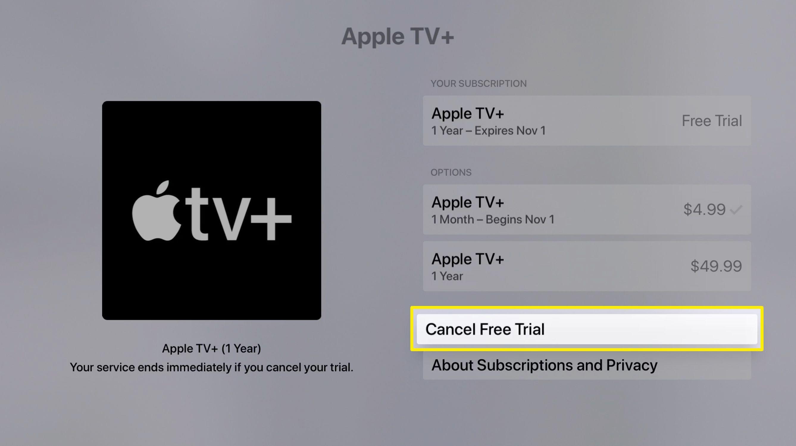 Screenshot of canceling an Apple TV subscription