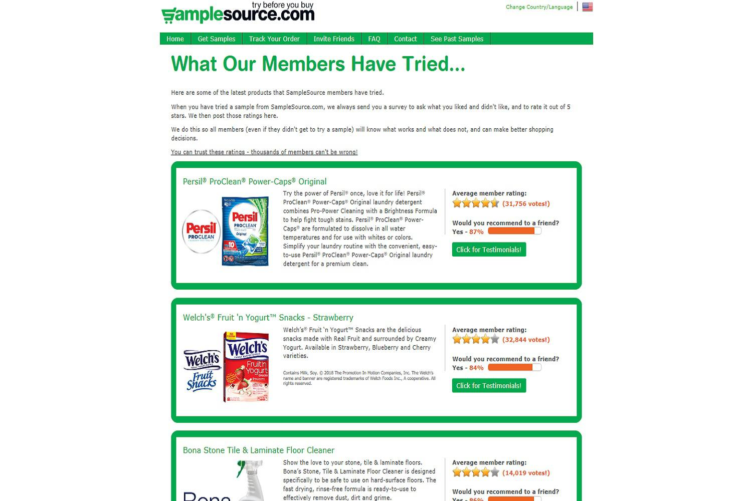 A screenshot of the SampleSource.com website showing past free samples, including free food product samples.