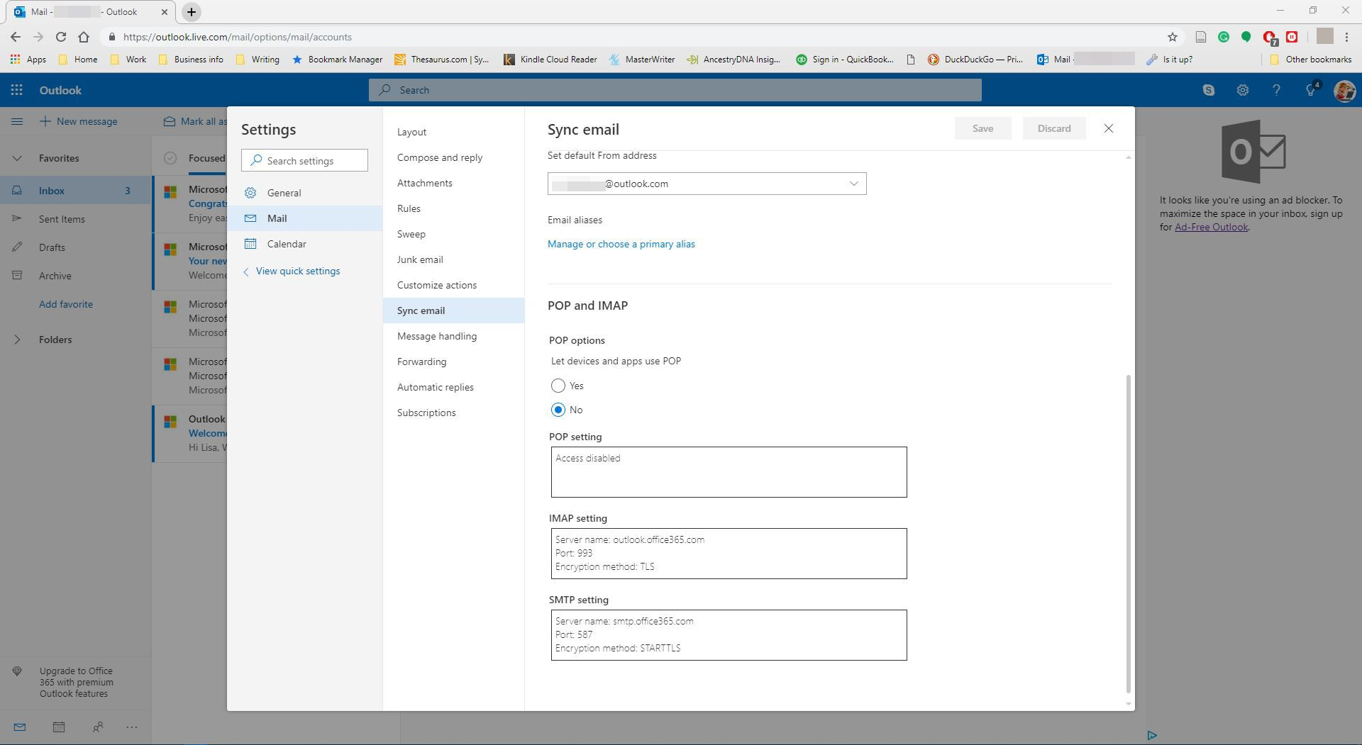 Viewing the sync mail setting in Outlook.com.