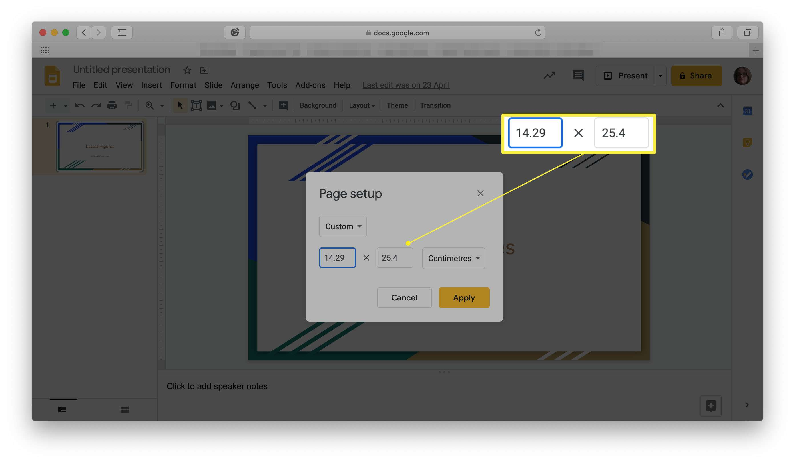 Google Slides with page setup options highlighted