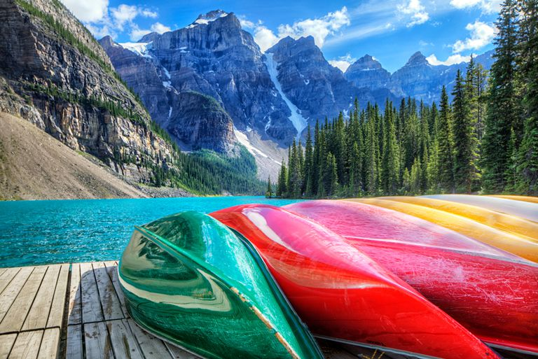 Cayaks on the Moraine Lake