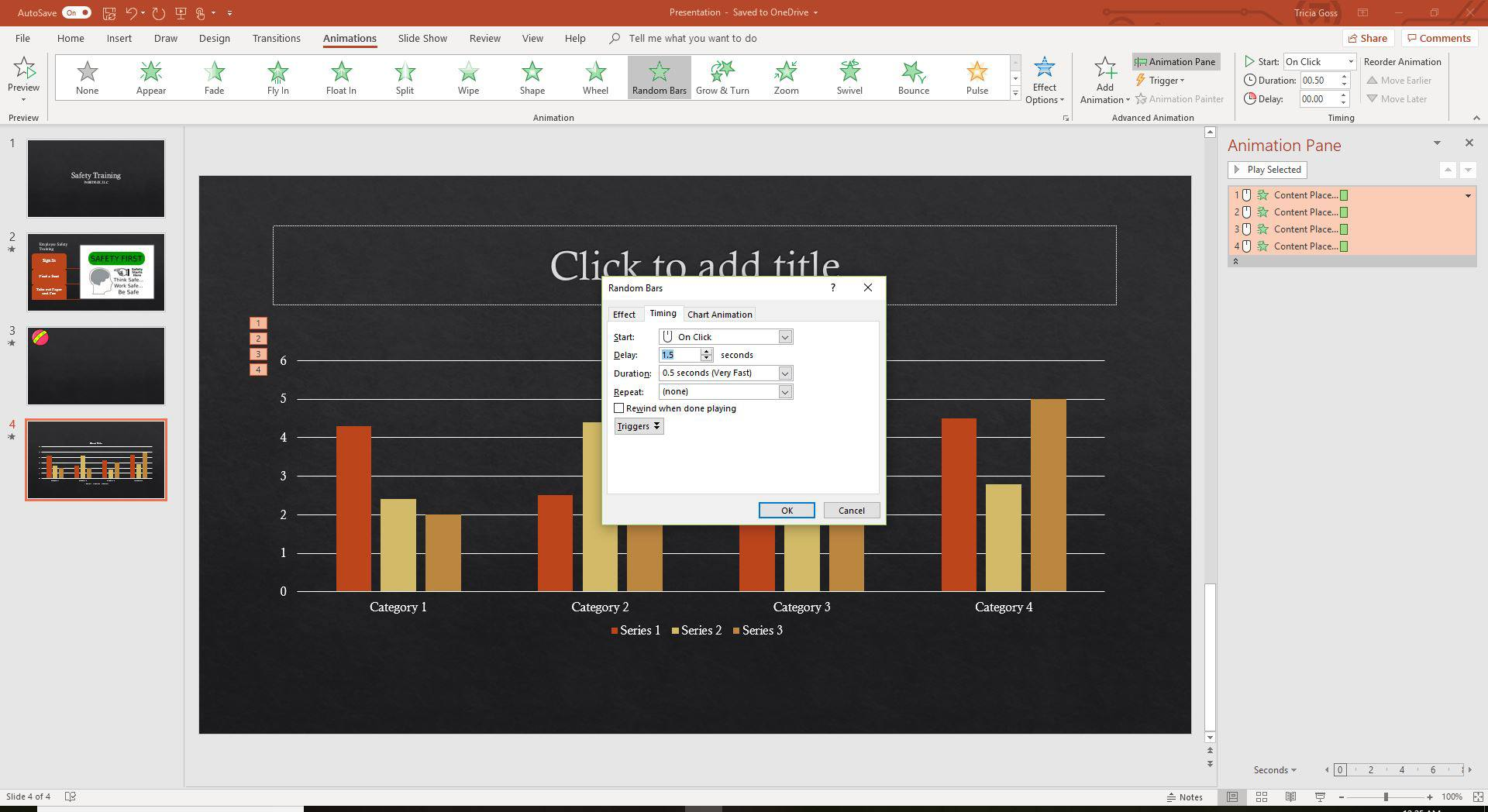 A screenshot of the Chart animation timing feature in PowerPoint.