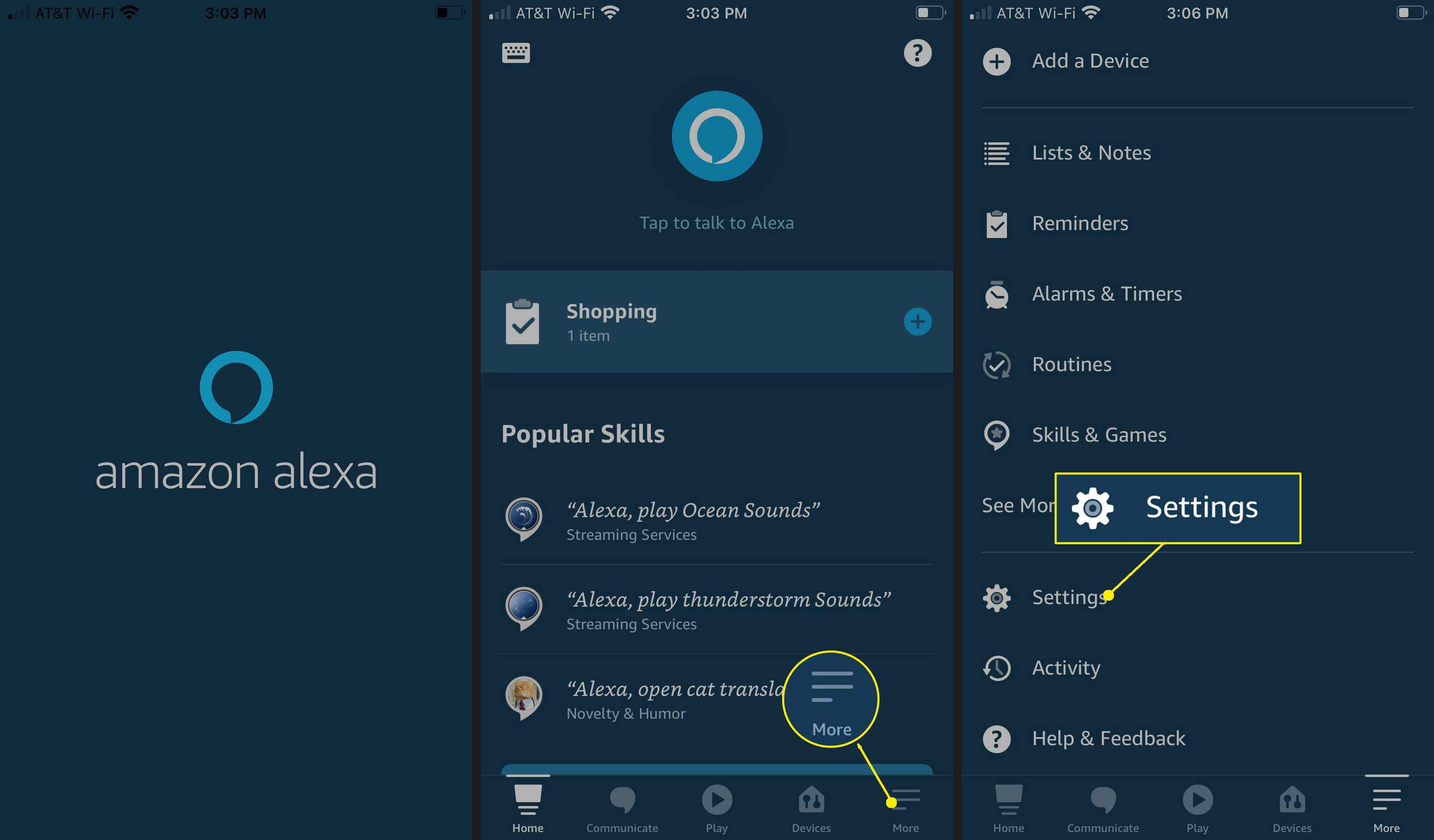 Open the Alexa app and tap More > Settings.