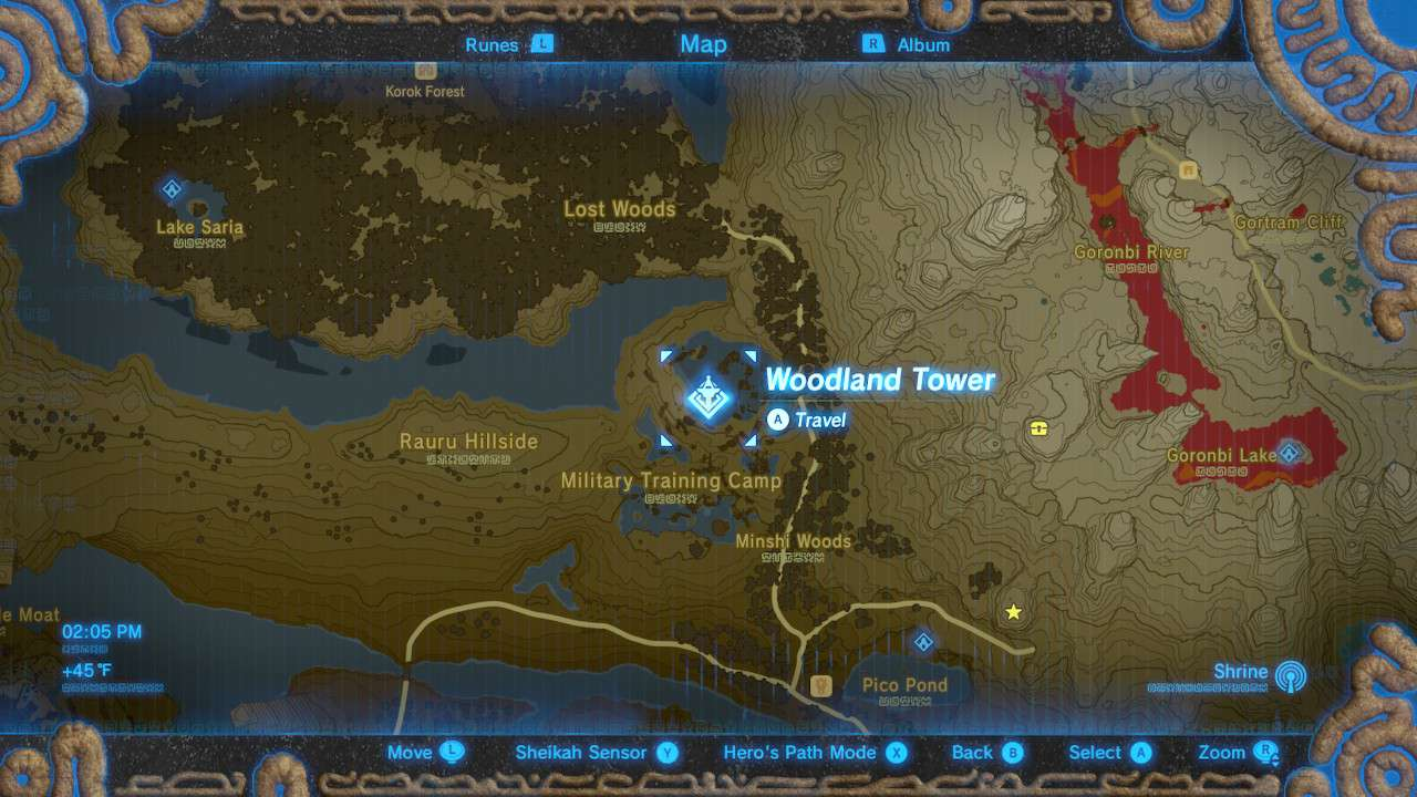 Woodland Tower location highlighted on map in The Legend of Zelda: Breath of the Wild.
