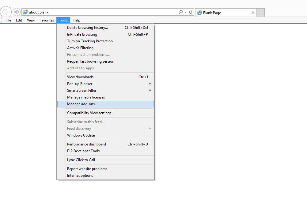 Manage add-ons menu item in Internet Explorer